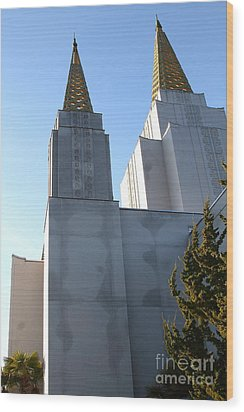 Oakland California Temple . The Church Of Jesus Christ Of Latter-day Saints . 7d11357 Wood Print by Wingsdomain Art and Photography
