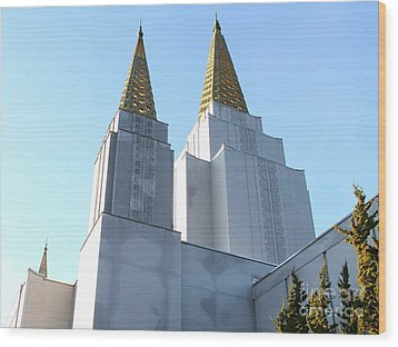Oakland California Temple . The Church Of Jesus Christ Of Latter-day Saints . 7d11360 Wood Print by Wingsdomain Art and Photography