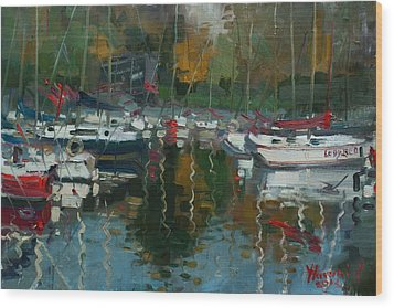Oakville Harbour On Wood Print by Ylli Haruni