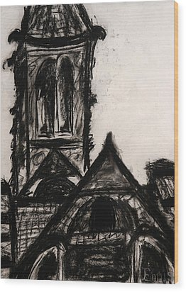 Oakwood Church Front Wood Print by Christophe Ennis