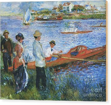 Oarsmen At Chatoli Wood Print by Pg Reproductions