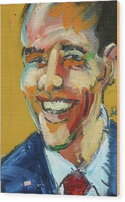 Wood Print featuring the painting Obama by Les Leffingwell