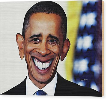Obamacaricature Wood Print by Anthony Caruso