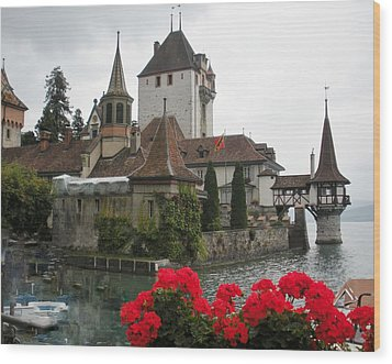 Oberhofen Castle Switzerland Wood Print by Marilyn Dunlap