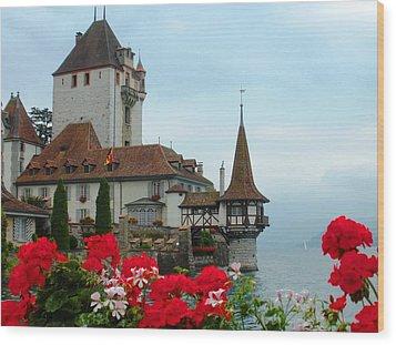 Oberhofen Castle With Flowers Wood Print by Marilyn Dunlap