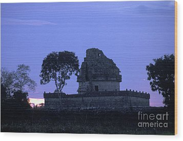Wood Print featuring the photograph Obervatory At Sunset Chichen Itza Mexico by John  Mitchell