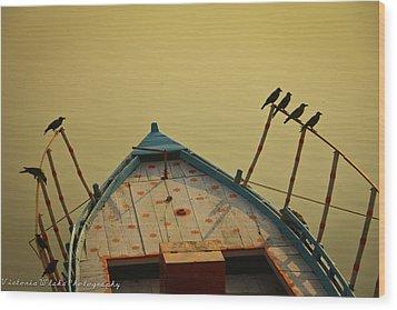 Occupied Boat On Ganges Wood Print by Www.victoriawlaka.com