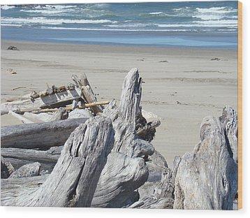Ocean Beach Driftwood Art Prints Coastal Shore Wood Print by Baslee Troutman