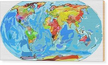 Ocean Currents World Map Wood Print by David Lloyd Glover