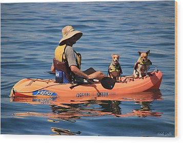 Ocean Kayaking Wood Print by Heidi Smith