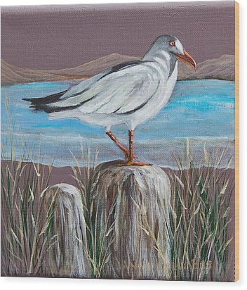 Ocean Sea Gull Wood Print by Janna Columbus