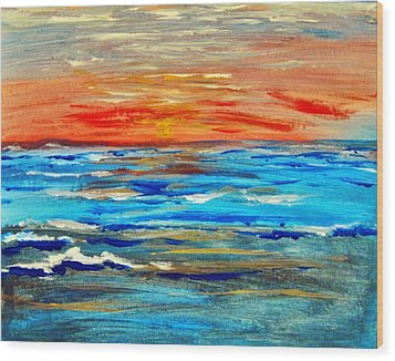 Wood Print featuring the painting Ocean Sunset by Amanda Dinan