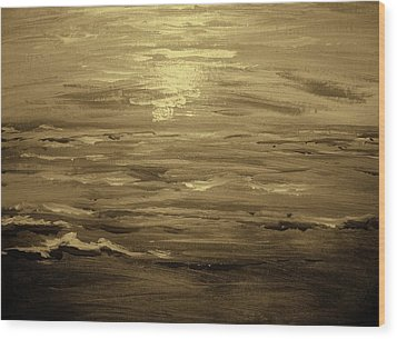 Wood Print featuring the painting Ocean Sunset Blk Wht by Amanda Dinan