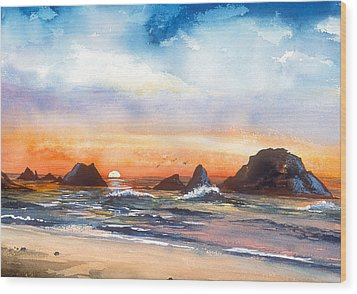 Ocean Sunset Wood Print
