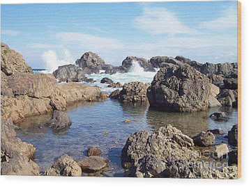 Wood Print featuring the photograph Ocean Tide On The Rocks by Cheryl McClure