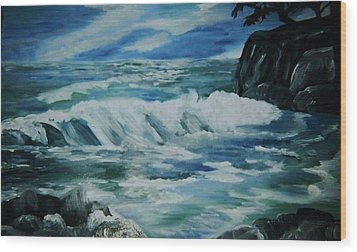 Wood Print featuring the painting Ocean Waves by Christy Saunders Church