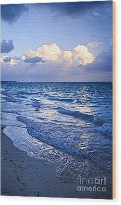 Ocean Waves On Beach At Dusk Wood Print by Elena Elisseeva
