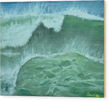 Wood Print featuring the painting Ocean's Green by Dawn Harrell