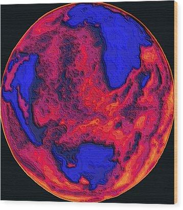 Oceans Of Fire Wood Print by Alec Drake