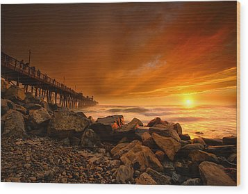 Oceanside Sunset 4 Wood Print by Larry Marshall