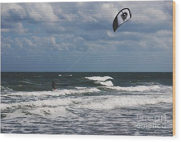 October Beach Kite Surfer Wood Print by Susanne Van Hulst