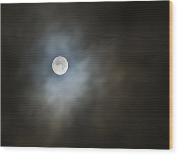 October Moon Wood Print by Steve Sperry