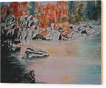 October On The Little Wolf River Wood Print by Carolyn Rosenberger