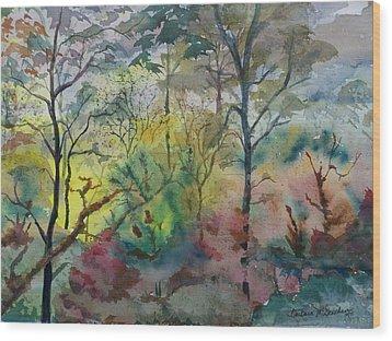 October Sunrise Wood Print by Barbara McGeachen