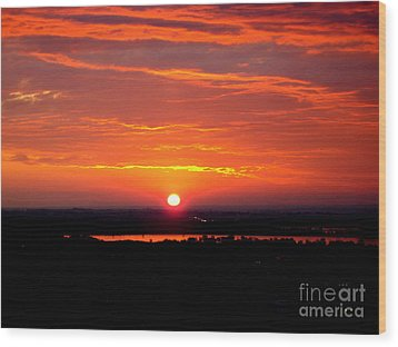 October Sunrise Wood Print by Marilyn Magee
