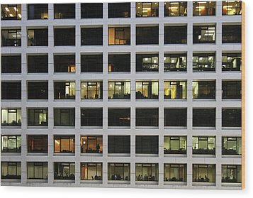 Office Building At Night Wood Print by Lars Ruecker