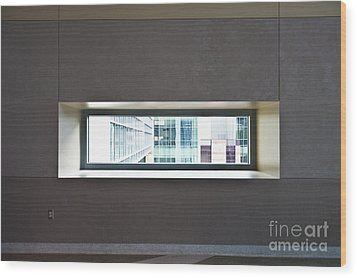 Office Buildings Seen Through Window Wood Print by Dave & Les Jacobs