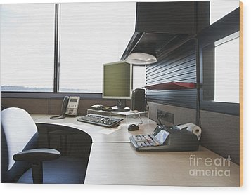 Office Work Station Wood Print by Jetta Productions, Inc