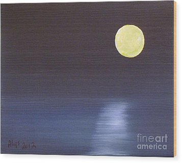 Offset Moon Wood Print by Alys Caviness-Gober