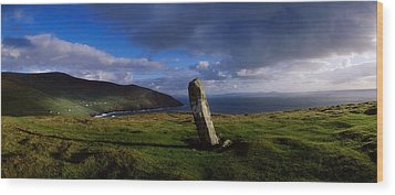 Ogham Stone At Dunmore Head, Dingle Wood Print by The Irish Image Collection