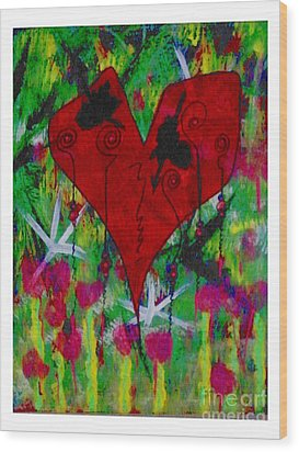 Oh My Green Heart Wood Print by Donna Daugherty