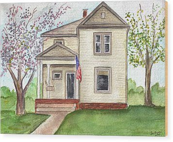 Wood Print featuring the painting Ohio Cottage With Flag by Clara Sue Beym