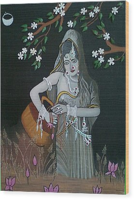 Oil Painting...a Lady With Pitcher Wood Print by Priyanka Rastogi