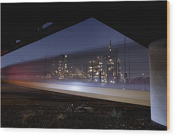 Oil Refinery And Train Blur Wood Print by Mike Raabe