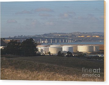 Oil Refinery Industrial Plant And Martinez Benicia Bridge In Martinez California . 7d10388 Wood Print by Wingsdomain Art and Photography
