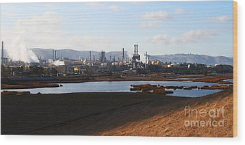 Oil Refinery Industrial Plant In Martinez California . 7d10398 Wood Print by Wingsdomain Art and Photography