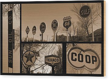 Oil Sign Retirement Wood Print