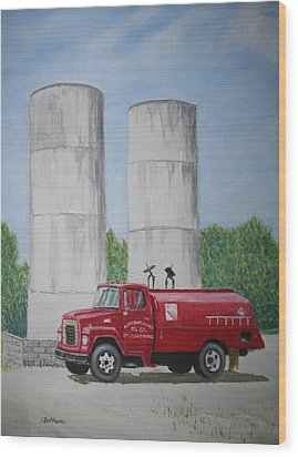 Wood Print featuring the painting Oil Truck by Stacy C Bottoms
