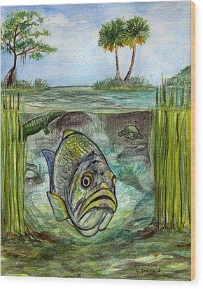 Okeechobee Underwater Wood Print by Heather Torres