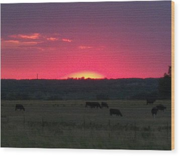 Okie Sunset Wood Print