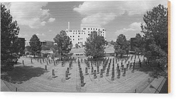 Oklahoma City National Memorial Black And White Wood Print by Ricky Barnard