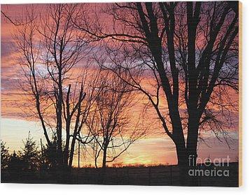 Oklahoma Sunset Wood Print