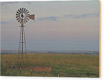 Oklahoma Windmill Wood Print by Tony Grider