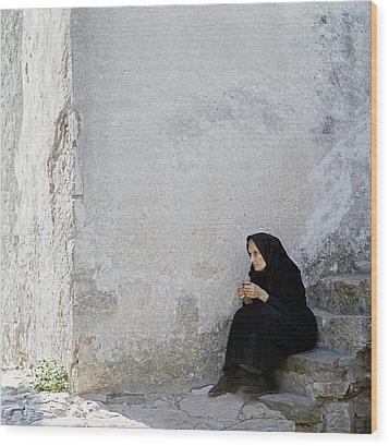 Old Age Woman Sitting Wood Print by Juan Carlos Ferro Duque