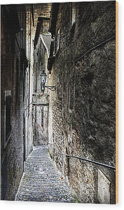 old alley in Italy Wood Print by Joana Kruse