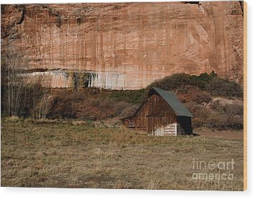 Old Barn In Angel Canyon #1  Wood Print by Nola Lee Kelsey